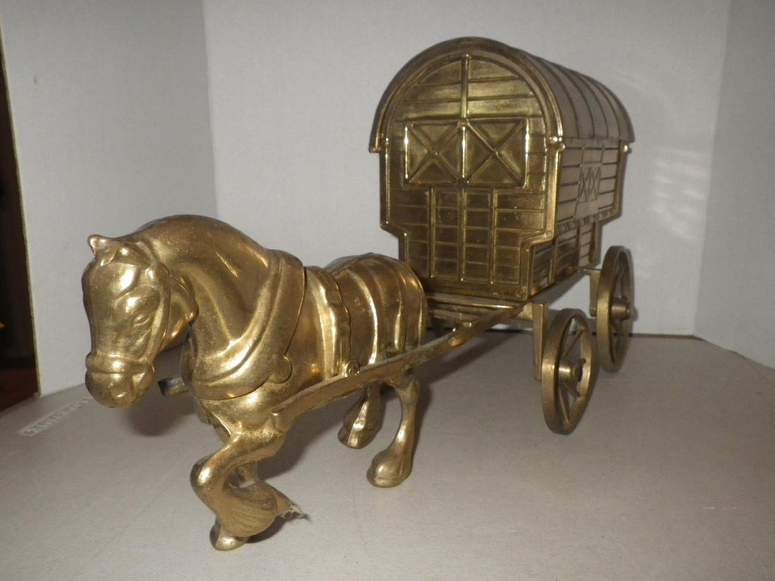 """Brass Horse & Covered Wagon - 20"""" long - Made in Italy - 3"""
