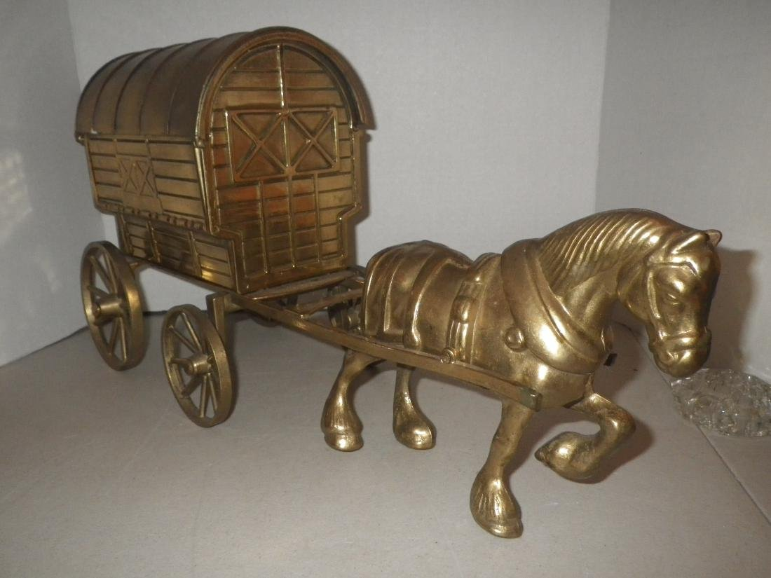 """Brass Horse & Covered Wagon - 20"""" long - Made in Italy - 4"""