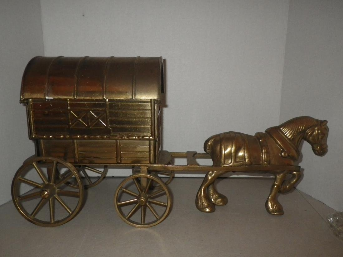 "Brass Horse & Covered Wagon - 20"" long - Made in Italy - 5"