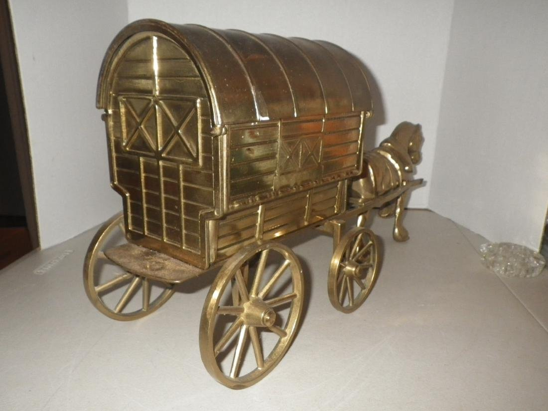 """Brass Horse & Covered Wagon - 20"""" long - Made in Italy - 6"""