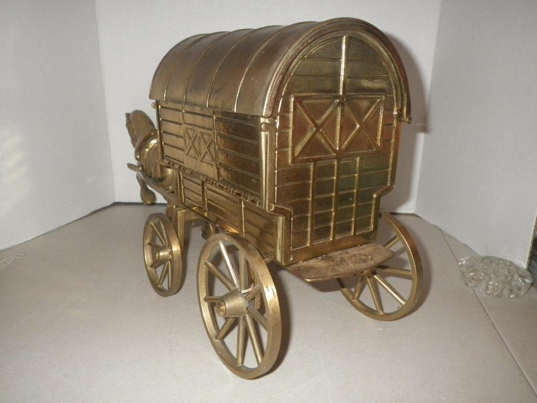 """Brass Horse & Covered Wagon - 20"""" long - Made in Italy - 7"""