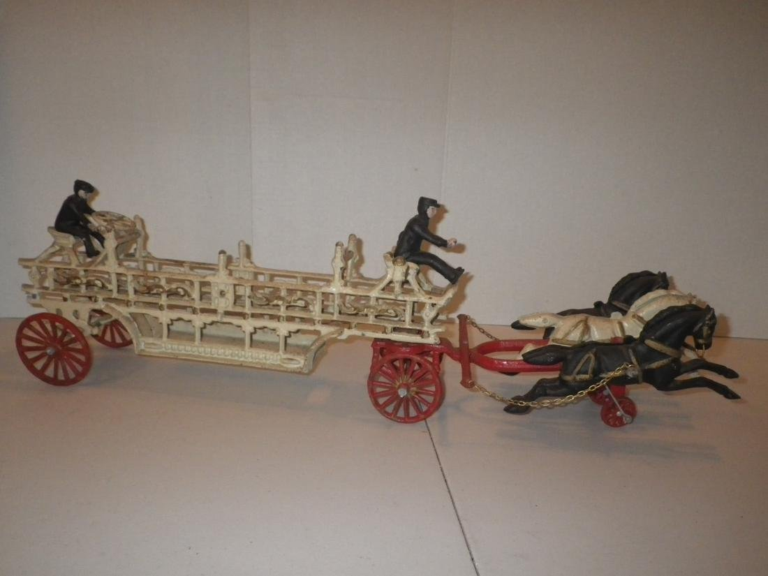 Cast Iron Fire Dept Horse Drawn Fire Hook & Ladder