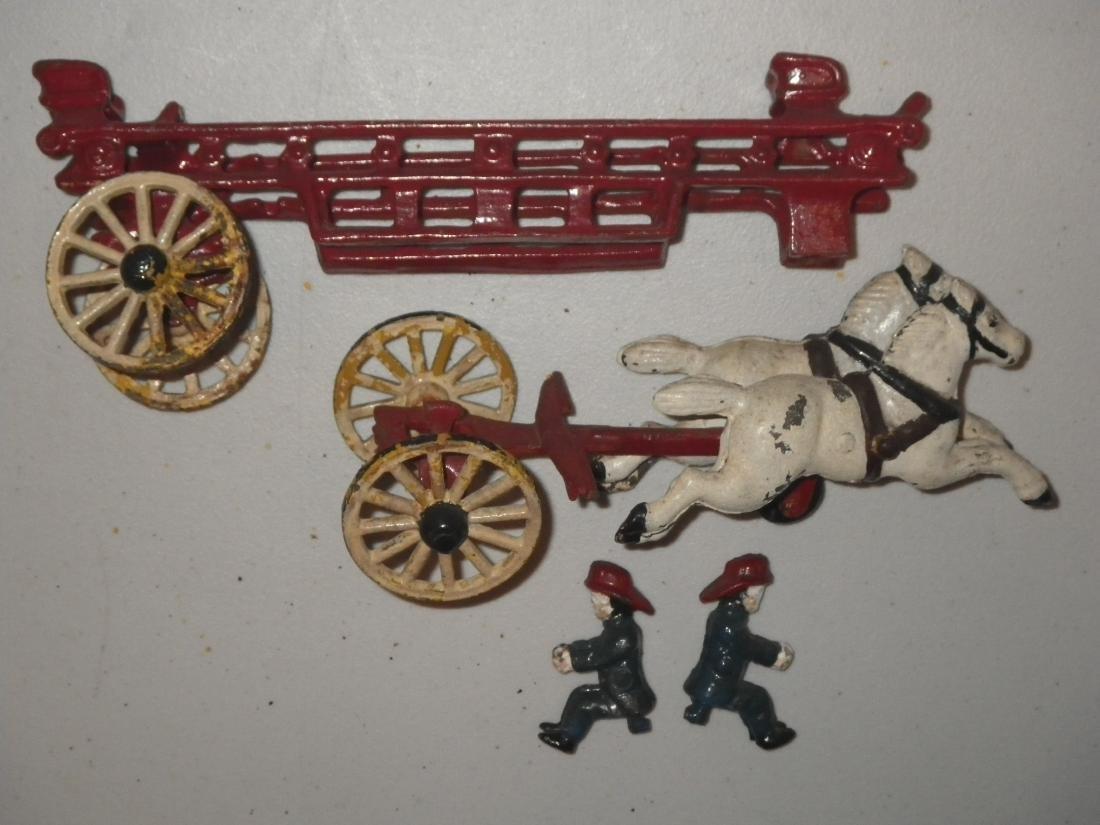 Cast Iron Fire Dept FD Horse Drawn Hook & Ladder Tiller - 10