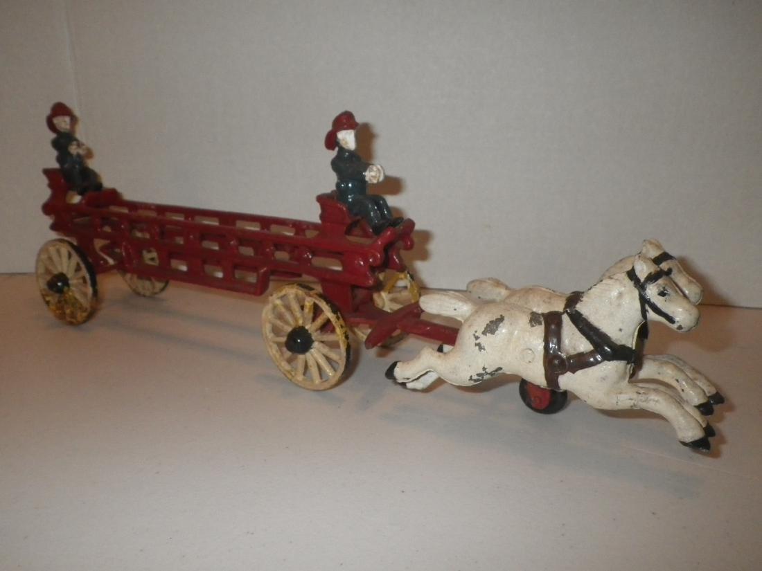 Cast Iron Fire Dept FD Horse Drawn Hook & Ladder Tiller