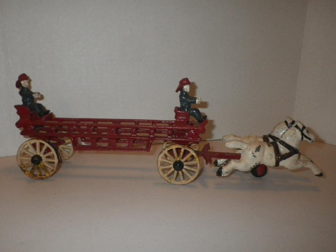 Cast Iron Fire Dept FD Horse Drawn Hook & Ladder Tiller - 2