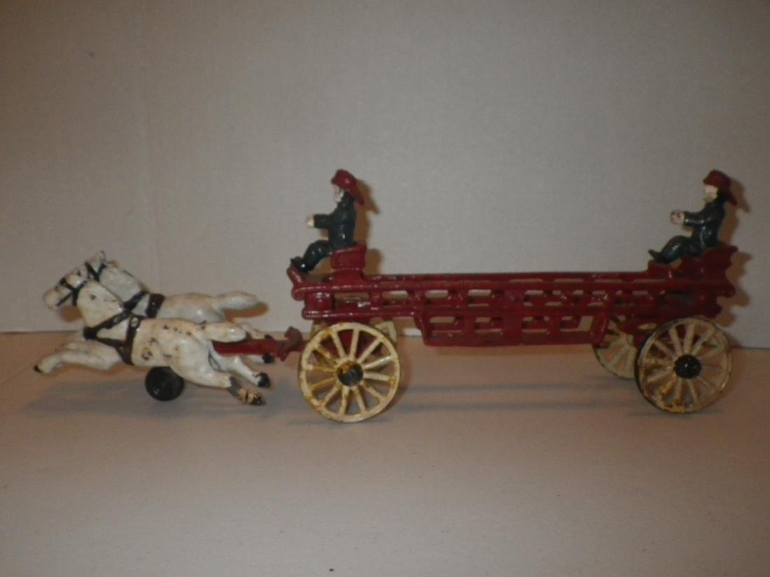 Cast Iron Fire Dept FD Horse Drawn Hook & Ladder Tiller - 4