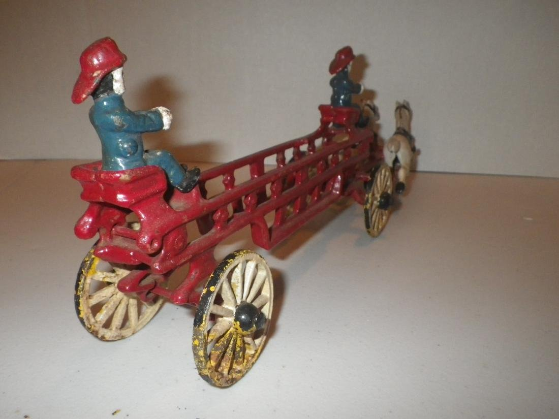Cast Iron Fire Dept FD Horse Drawn Hook & Ladder Tiller - 6