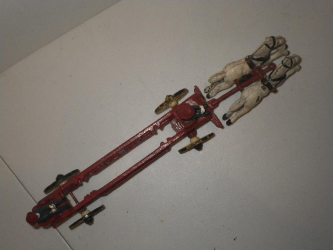 Cast Iron Fire Dept FD Horse Drawn Hook & Ladder Tiller - 7