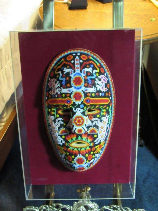 Beaded Mask in Lucite Box Frame