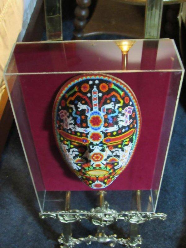Beaded Mask in Lucite Box Frame - 2