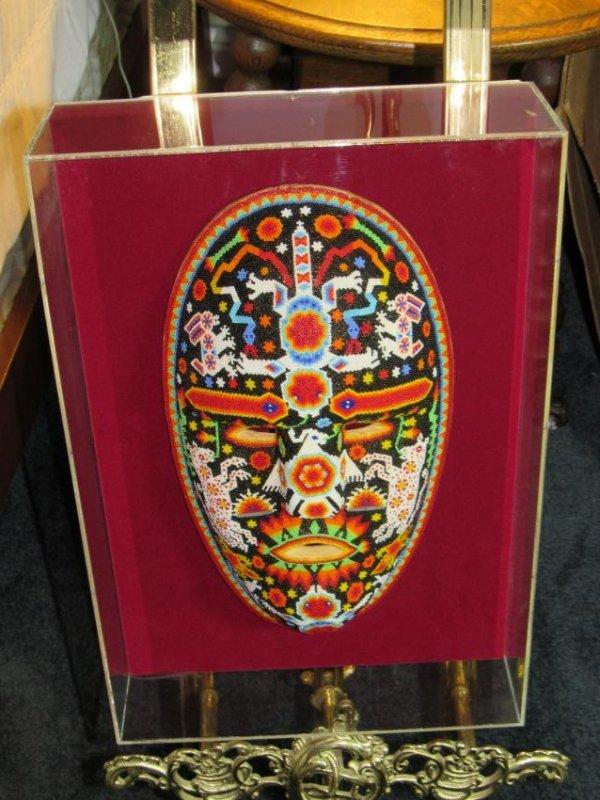 Beaded Mask in Lucite Box Frame - 3