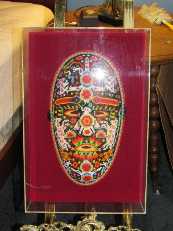 Beaded Mask in Lucite Box Frame - 4