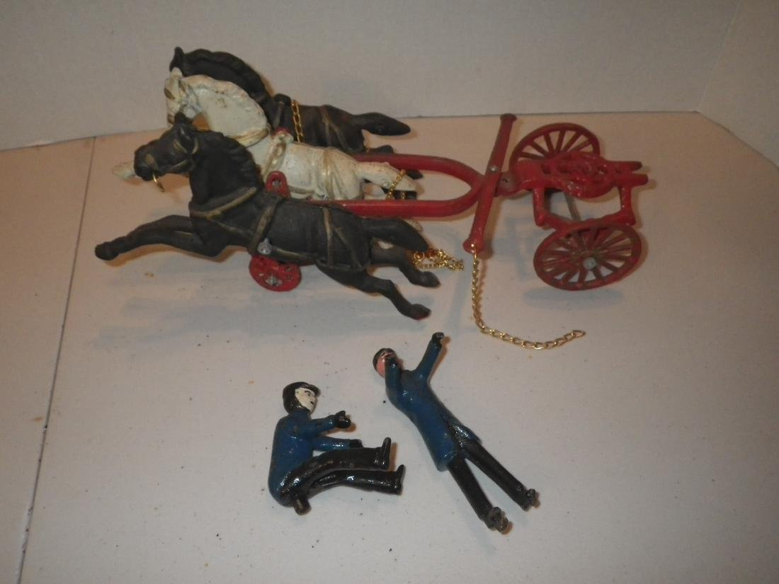 Vintage Cast Iron Fire Dept Horse Drawn Fire Apparatus
