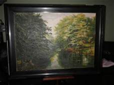 Wooded Forest Scene Painting - Oil on Canvas Signed