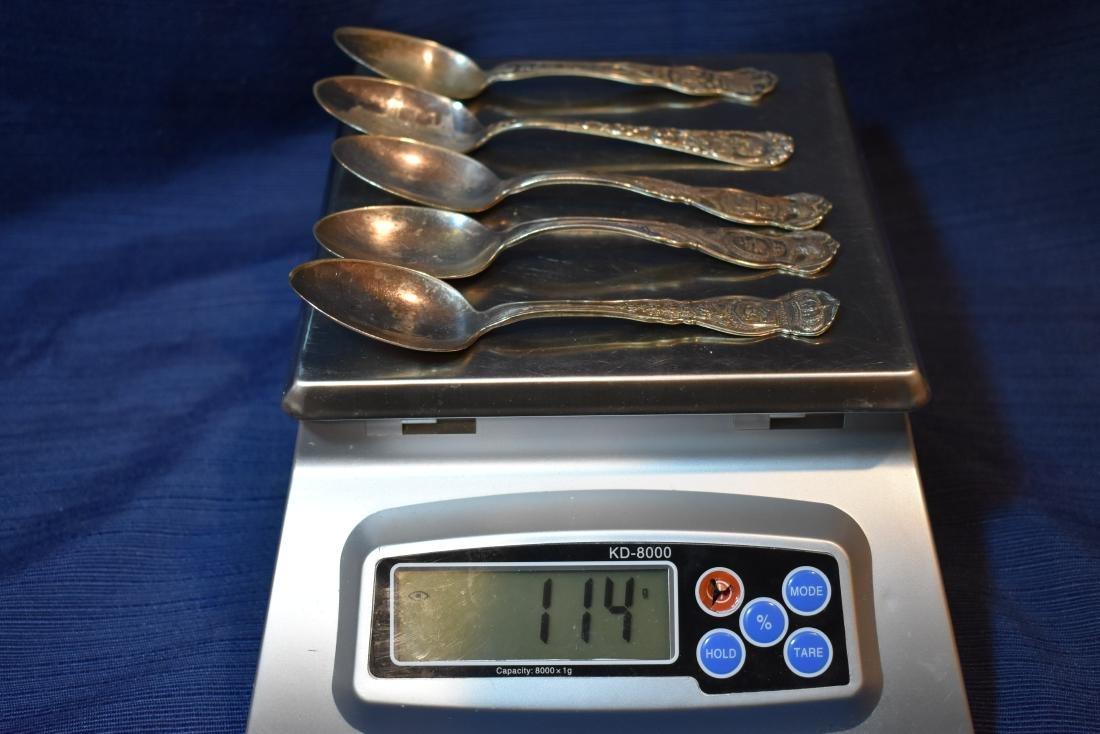 Five (5)  Souvenir Teaspoons - 10