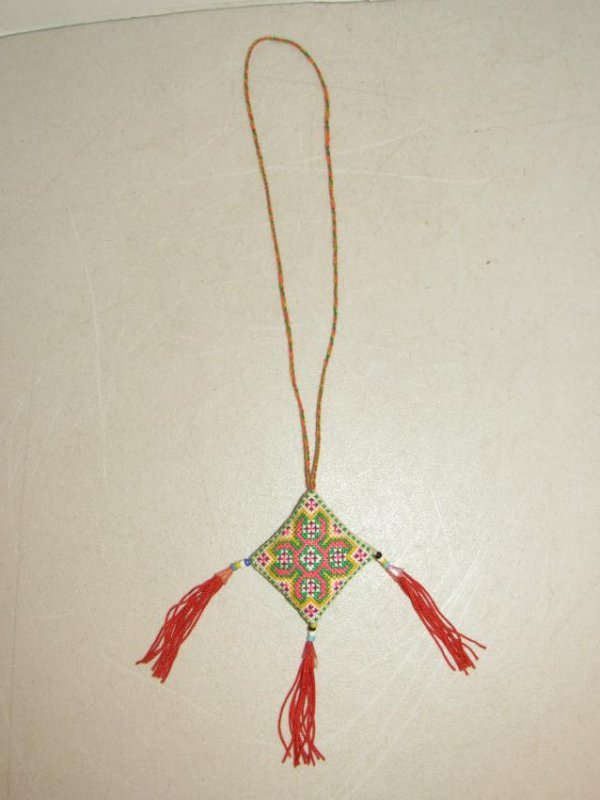 Native American Diamond Shaped Embroidered Necklace