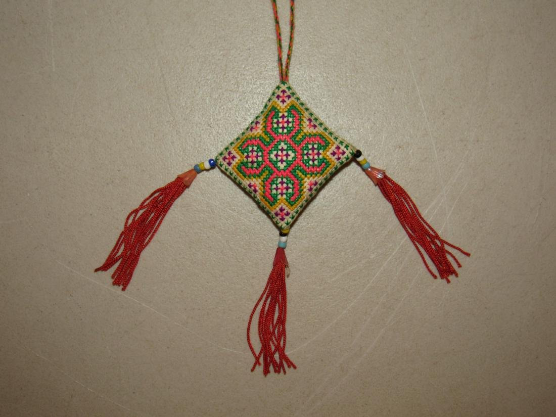 Native American Diamond Shaped Embroidered Necklace - 2