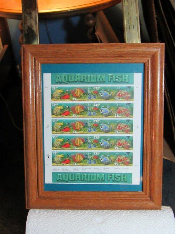 USPS Aquarium Fish Stamps - Framed