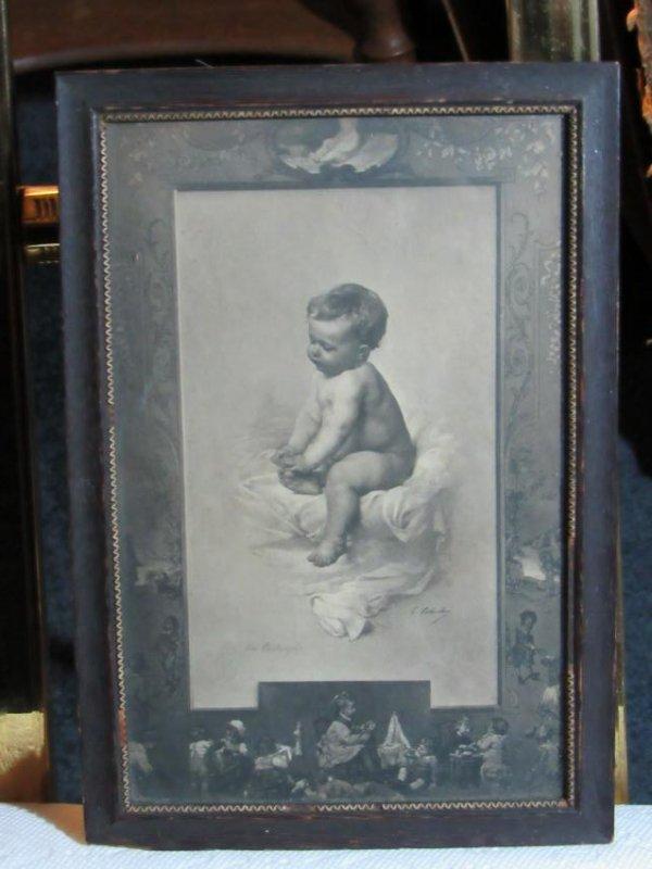 Signed  Infant Print - Framed Under Glass