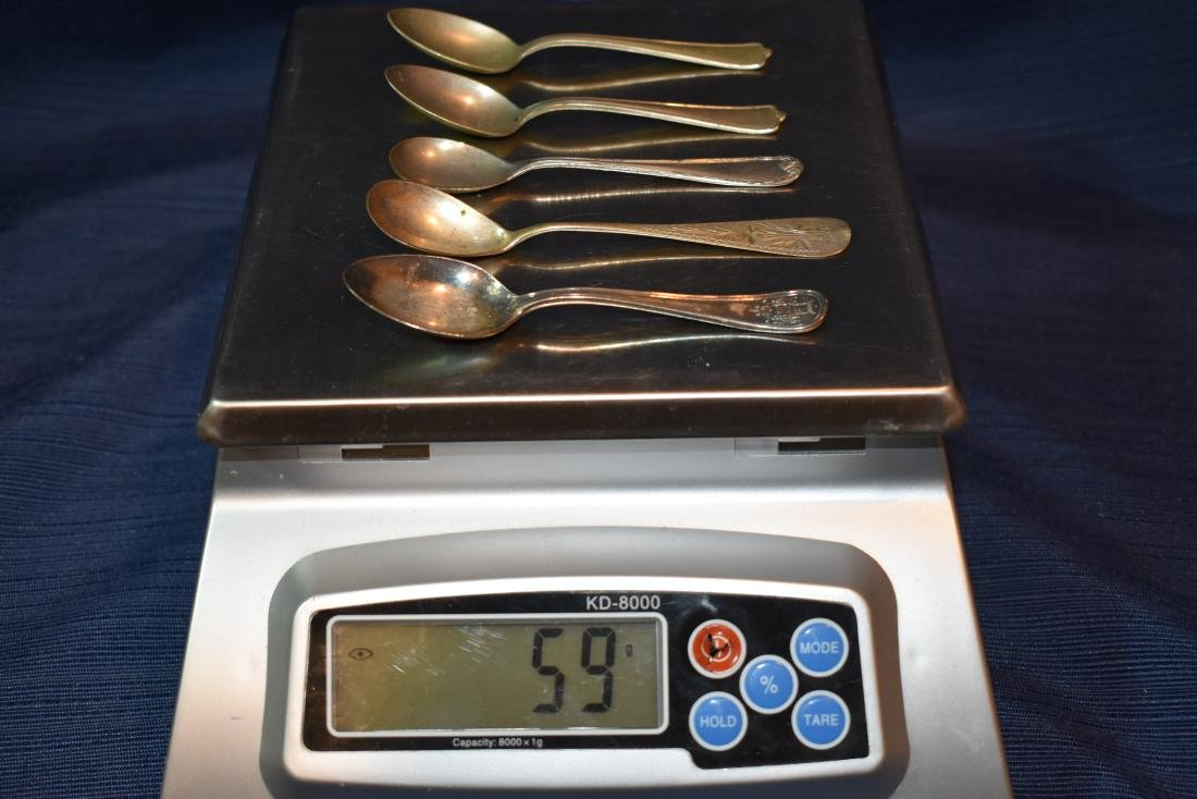 Five (5) Assorted Antique Demitasse Spoons - 10