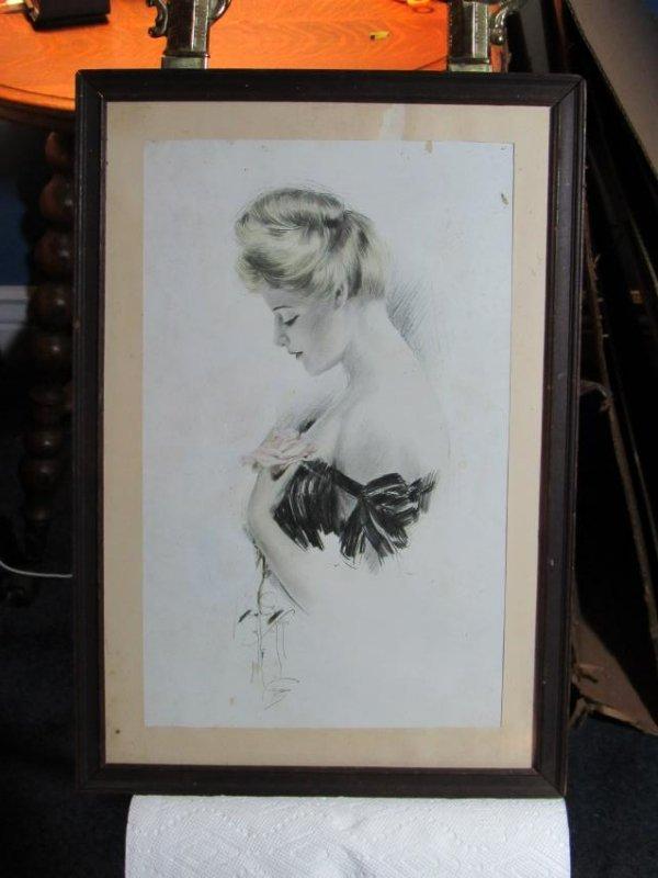 Woman's Profile Portrait - Pen & Ink - Signed on Paper