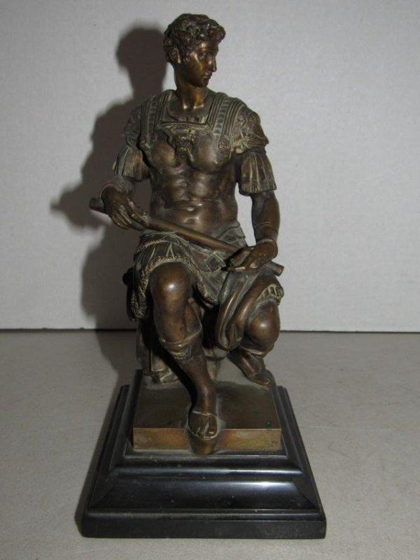 Brass Bronze Roman Ruler Solider Statue