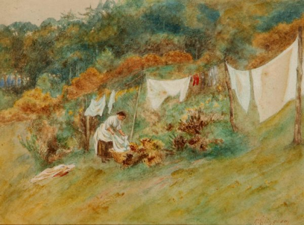 2: Allingham (Helen, 1848-1926). Landscape with maid pu