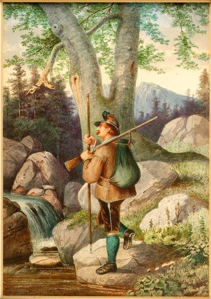 3: Alpine School. The Huntsman,  an attractive mid 19th