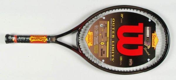 "73A: The Wilson ""Hammer 3.5 Outer Limits"" tennis racket"