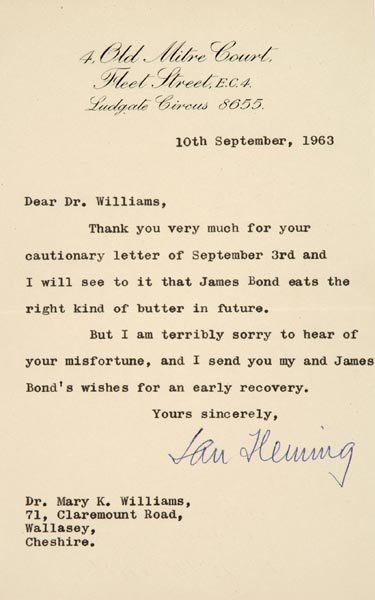 328B:  Fleming (Ian, 1908-64). Typed letter signed 'Ian