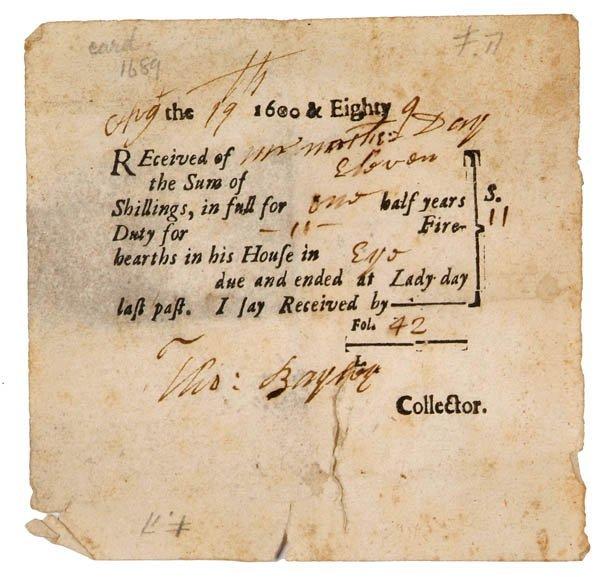 331B: Hearth Tax. An original receipt in the name of Ma