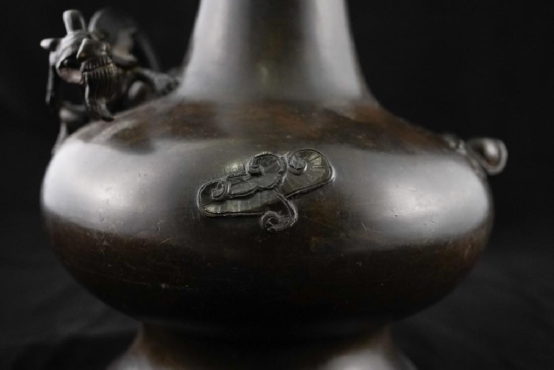 Long Neck Bronze Garlic-Head Vase - 7