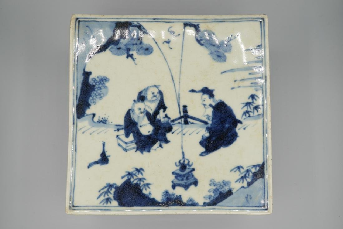 China Ming Dynasty Blue and White Square Box