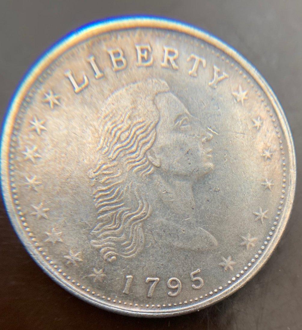 1795 Flowing Hair Dollars : 3 Leaves Silver Dolla - 2