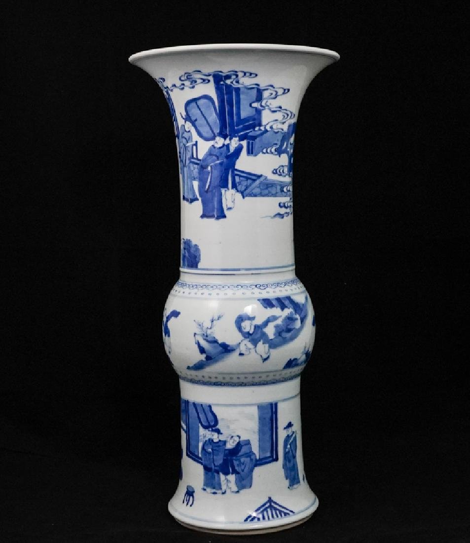 China Qing Dynasty Blue and White Vase - 2