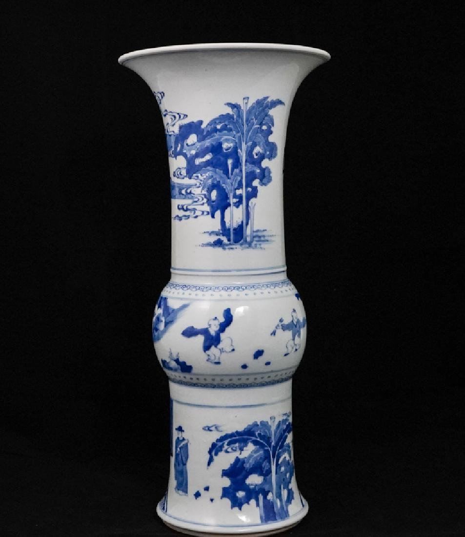 China Qing Dynasty Blue and White Vase - 3