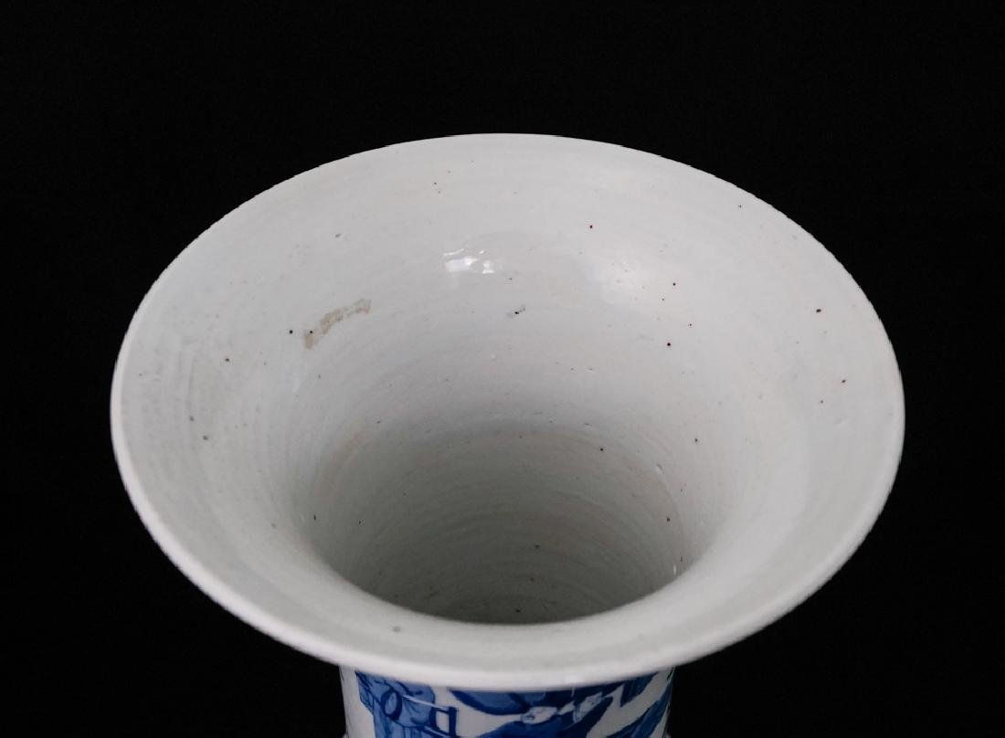 China Qing Dynasty Blue and White Vase - 4
