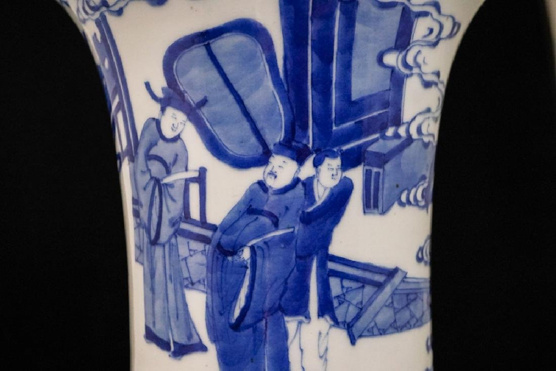China Qing Dynasty Blue and White Vase - 7