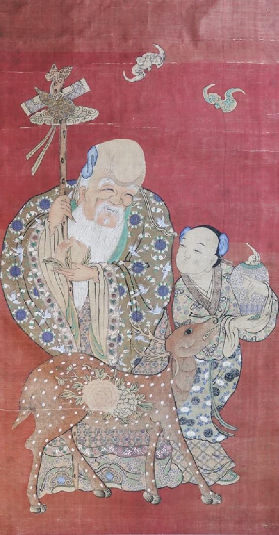 A Chinese scroll painting  Star of Longevity