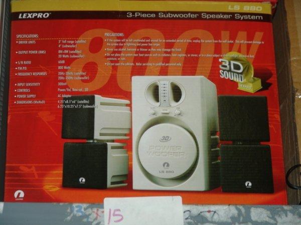 15: LEXPRO SUBWOOFER SPEAKER 3 PC SYSTEM 800 WATT NEWD