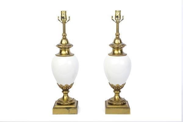Pair Of Hollywood Regency Ceramic - Brass Lamps Stiffel