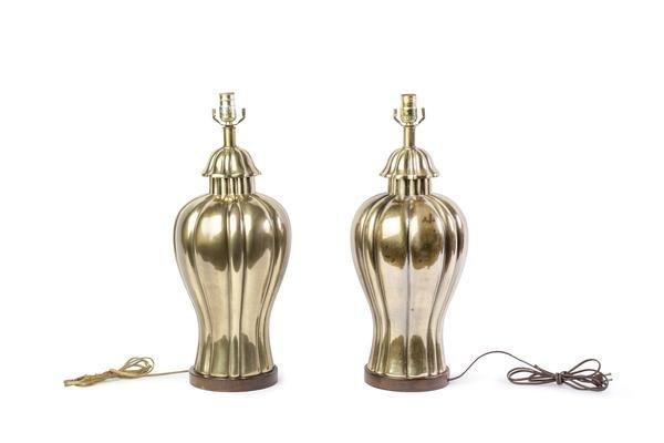 Vintage Frederick Cooper Brass Jar Lamps