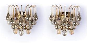 MidCentury Crystal Pair Of Sconces By Christoph Palme