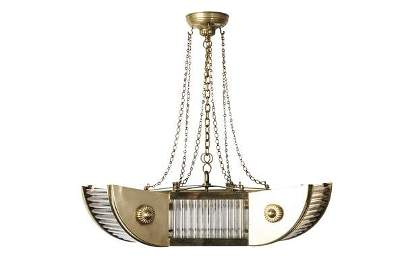 French Art Deco Brass And Glass Tubes Chandelier