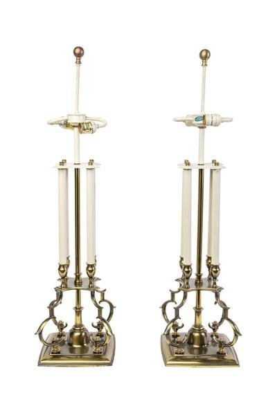 Pair Of Mid-Century Stiffel Candlestick Table Lamps