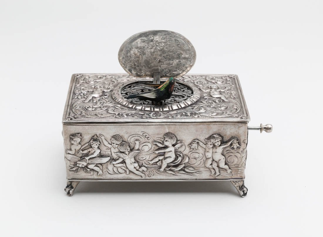 925 Silver singing bird box