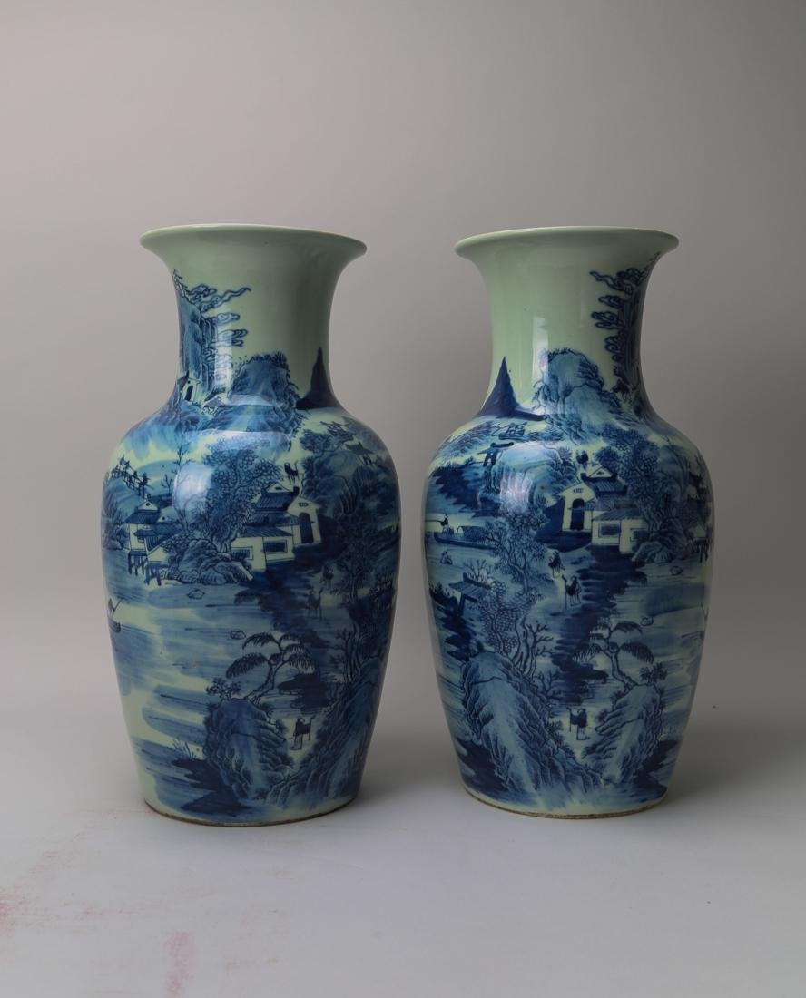 A pair of 19th century blue and white vase