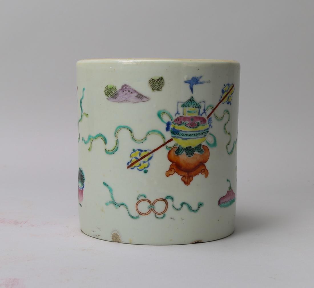 Qing dynasty famille rose brush bot