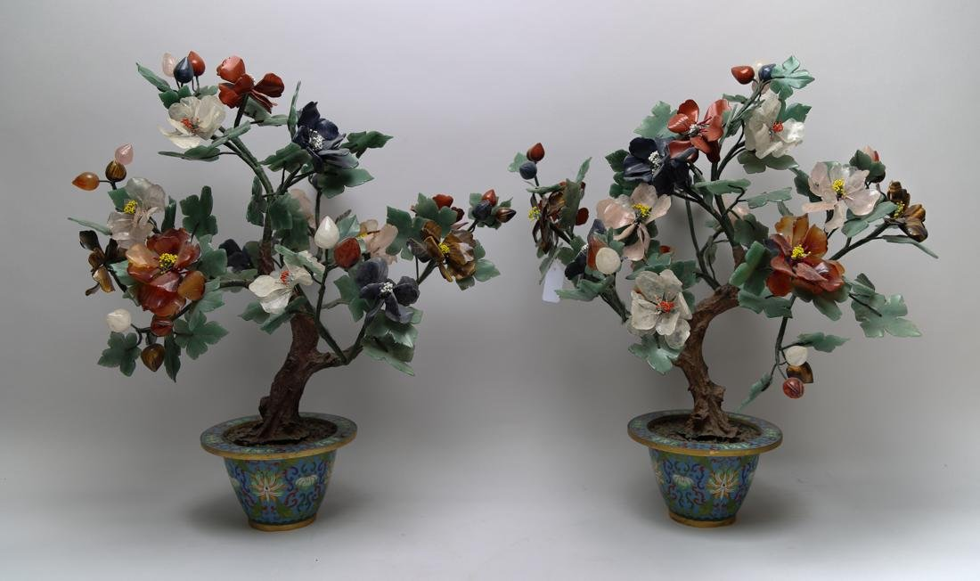 A pair of Cloisonne flowerpot with agate/crystal/jade
