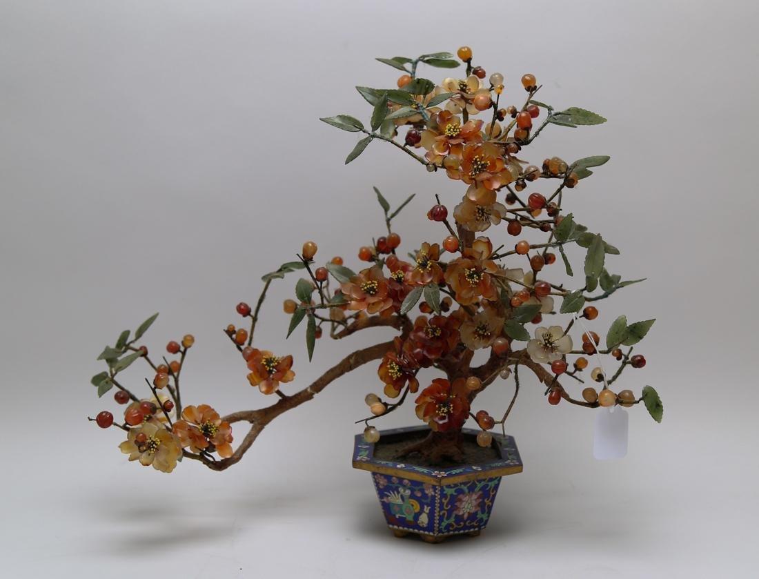 Cloisonne flowerpot with agate/crystal/jade flower